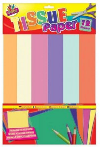 12 Sheets Tissue paper Assorted Colours