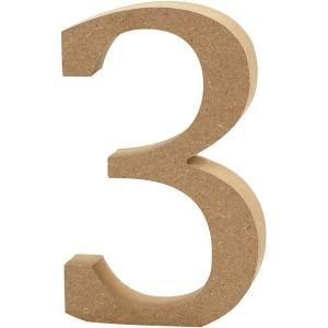 MDF wood number 3 8cm