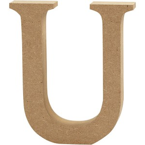 MDF wood letter U 8cm